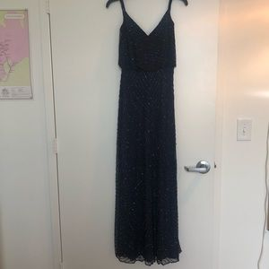 Adrianna Papell Beaded Navy Strappy Gown